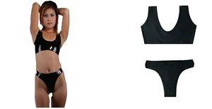 100% Latex Rubber Gummi Black Combination Bra and panties Bondage fetish  uk