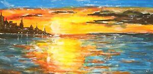 ":""City Sunset"" Original Painting- De Martino Art"
