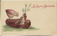 """Antique Easter Postcard """"A Joyous Eastertide"""" Chicks with Shoe and Pussy Willows"""