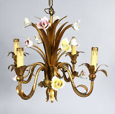 Small Vintage French Style Chandelier - Gilt Metal with Pastel Porcelain Flowers