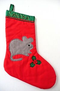 "Handmade Red Cotton Christmas Stocking Green Cuff Personalized ""Sandra"""