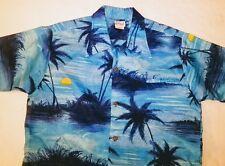 Kole kole Hawaiian Shirt Men L Made in Hawaii Blue Palm Trees Vintage