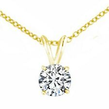 0.90ct ROUND CUT Solitaire diamond pendant 14k Yellow gold CERTIFIED K VS1