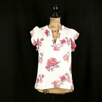 Justify Womens sz M White Pink Floral Semi Sheer Blouse Ruffle Cap Sleeve V Neck