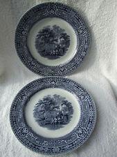 Pair of W. Baker & Co Ltd 'Woodland' Blue & White Plates. c1920's