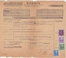 BANCA COMMERCIALE ITALIANA - RICEVUTA DI AFFITTO CON RARE MARCHE DA BOLLO - 1944