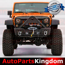 Stubby Stinger Rock Crawler Front Bumper+Fog Light Hole Fit 07-17 Jeep Wrangler