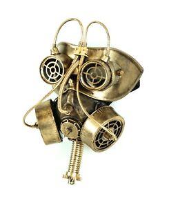 Steampunk Gas Mask Respirator Gear Goggles Punk Goth Rave Cyber Burning man Gold