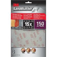 3M Sandblaster Ultra Flexible Sanding Sheets, 150 Grit, Silver, Medium, Set Of 2