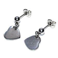 Boucles d'oreilles acier inoxydable clou pendant coeur bijou earring