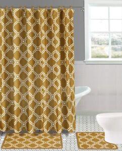 Moroccan Quatrefoil and Diamond Design 15 Piece Bath Rug Shower Curtain & Hooks