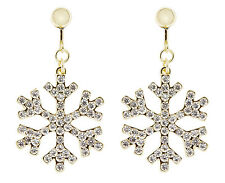 Clip On Earrings - gold snowflake drop earring with clear crystals - Millie G
