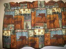 Cabin Lodge Camp Moose Black Bear Deer North Woods fabric curtain topper Valance