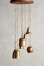 ANTHROPOLOGIE Campanology Chandelier, Seven Light Bell Brass Vintage Antique