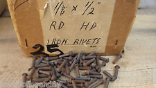 "PACK OF 50  1/8"" x 1/2"" ROUND HEAD STEEL IRON RIVETS  NOS STEAM  BOX 25"