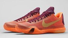 Hombre Nike Kobe X Seda Zapatos Talla 7 Merlot dorado rojo naranja 705317 676