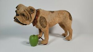 Antique Brindle Bulldog Pull Toy Nodder Growler Paper Mache Roullet Decamps NICE