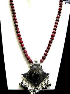 Silver Oxidized Coral Beaded Necklace Boho Tribal Jewelry Designer Necklace