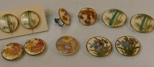 Vintage Collection Of Satsuma Hand Painted Button's & screw-On Earring's