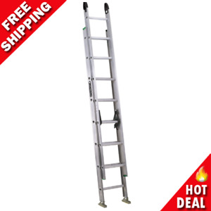 16' ft Foot Tall Aluminum Extension Ladder Rung Lock Leveler ProGrip Caps NEW