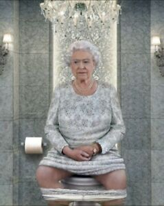 Queen On Throne Toilet Funny Canvas Print Wall Art Picture Size 12x16 Inch 18mm