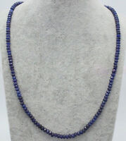 Handmade 2x4mm Natural Blue Sapphire Faceted Gemstone Beads Necklace 18''