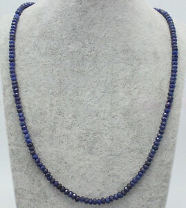 Handmade 2x4mm Natural Blue Sapphire Faceted Gemstone Beads Necklace 18'' JN1634