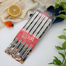 5 Pairs/Set Chinese Stainless Steel Non-Slip Chopsticks Reusable Stick Tableware