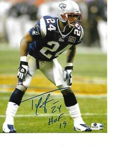 Ty Law New England Patriots Autographed 8x10 Photo HOF Inscription