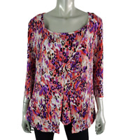 JMS Womens 2Fer Top Plus Size 1X 16W Pullover 3/4 Sleeve Stretch Purple Casual