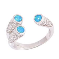Blue Fire Opal Zircon Silver Fashion Women Jewelry Engagement Ring Size 8 OJ9613