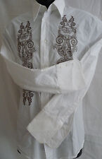JUST CAVALLI Mens Casual Dress Shirt 50/40 White Brown Embroidery Cotton Italy