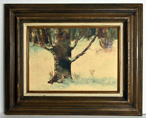 """13"""" Vintage Oil Painting Canvas 1977 Rosemarye Ruxer Winter Landscape Forest"""