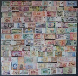 100 verschiedene BANKNOTEN, Banknoten alle Welt - SAMMLUNG, MIT ZIMBABWE Million