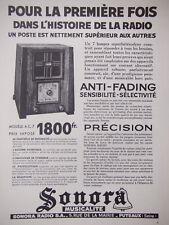 PUBLICITÉ DE PRESSE 1935 SONORA MUSICALITE LA RADIO ANTI-FADING - ADVERTISING