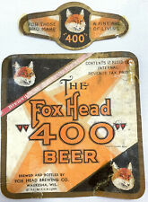 IRTP Vintage Fox Head 400 Beer Bottle Can Label 12oz Waukesha Wisconsin Orange
