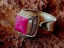 STERLING SILVER ADJUSTABLE 12mm. RING with a RUBY CABOCHON STONE £34.95 NWT