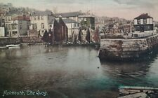 Falmouth UK Antique Postcard Early 1900s Rare Old Quay House Sail Boat Cornwall