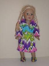 "Purple/Pink Chevron Fleece Bathrobe & Slippersfor 18"" Doll Clothes American Girl"