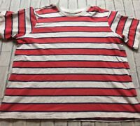90s VTG STRIPED RED Gray BOLD WIDE OVERSIZED T Shirt Normcore Boxy 2XL Grunge