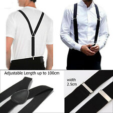 Black 25mm Unisex Mens Men Braces Wide & Heavy Duty Suspenders Adjustable Strap