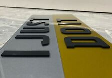4D LASER CUT TINTED SHOW CUSTOM NUMBER PLATE PAIR 3M CUSTOM PLATE WHITE YELLOW
