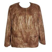 Alfred Dunner Womens Jacket Size 12 Circle Oaks Shimmer Brown Full Zip Blazer