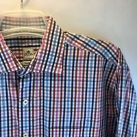 Peter Millar Men's Seaside Finish Long Sleeve Button Up Plaid Shirt red Blue XL?