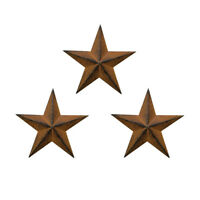"""Set of 3 Metal Patrotic Old Glory Americana Barn Star July of 4th Decoration 8"""""""