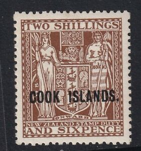 COOK ISLAND 1946 SG131 (UP-WMK) 2/6d DULL BROWN VERY lightly mounted mint