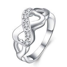 Ring Herzen Infinity Unendlich 925 Sterling Silber mit Zirkonia Größe 17 Damen