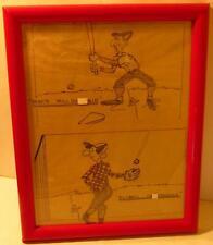 2 Baseball Pencil Cartoon Original Pencil Drawings Bill Houck Kitsch Vintage
