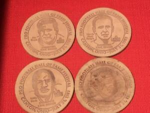 Set Of 4 1981 NFL Hall Of Fame HOF Class Leather Coasters Davis,Ringo, Blanda