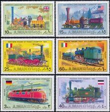 Ajman 1971 Trains/Steam Engines/Locomotives/Rail/Railway/Transport 6v set s2835b
